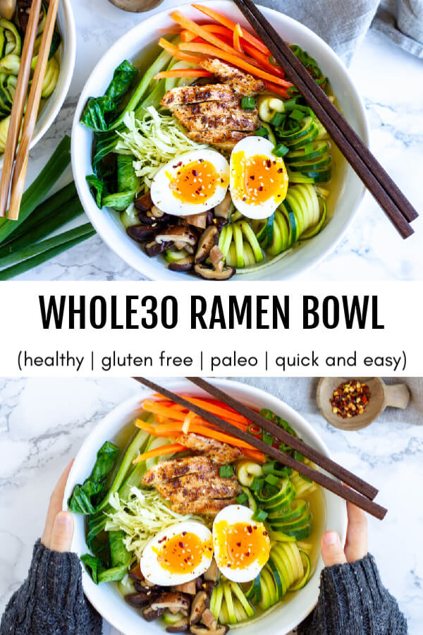 Whole30 Ramen Bowl in white bowl with brown chopsticks