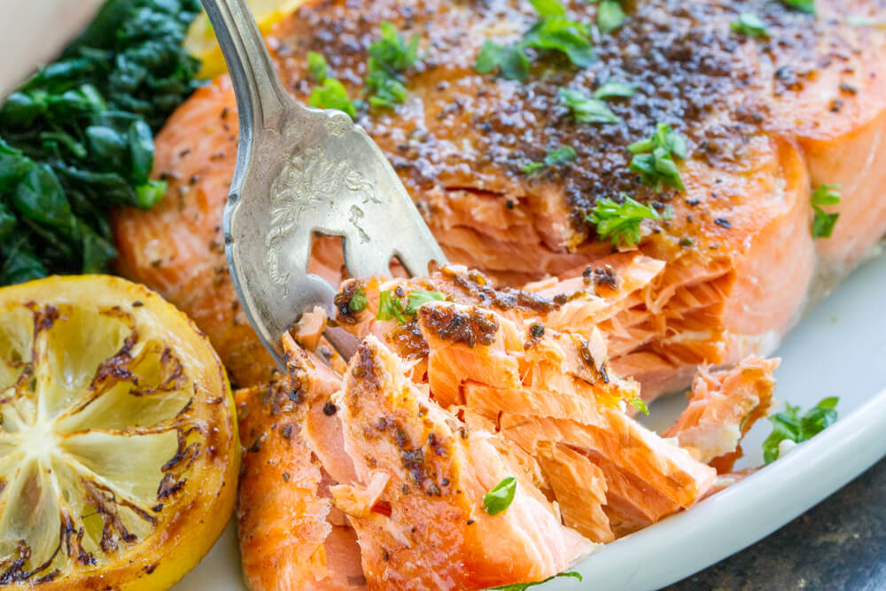 fork in  Broiled Salmon