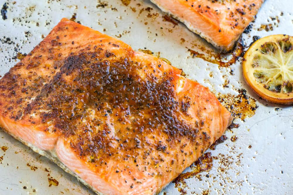 Broiled Salmon on metal baking sheet