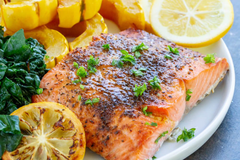 Broiled Salmon on white plate