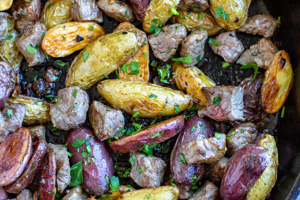 close up of Steak Bites with Garlicky Potatoes