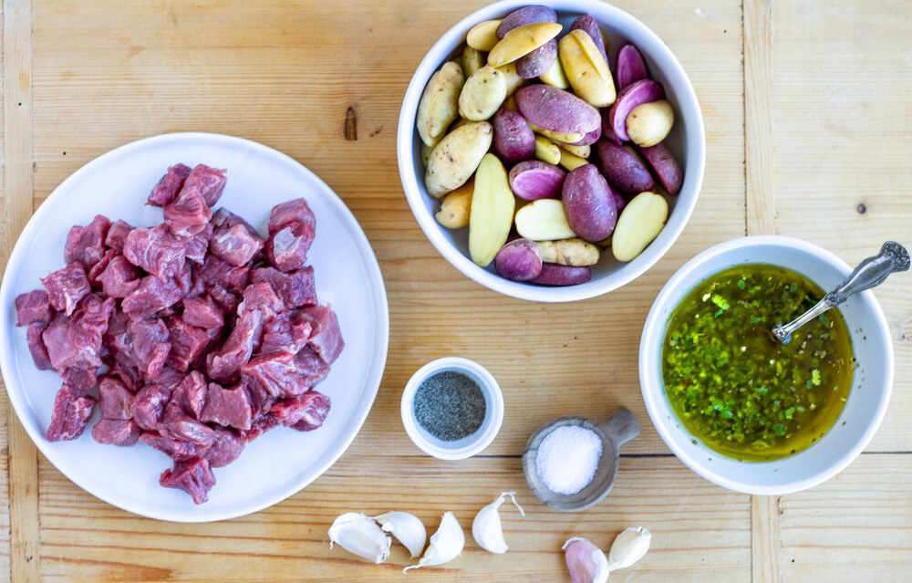 ingredients for Steak Bites with Garlicky Potatoes