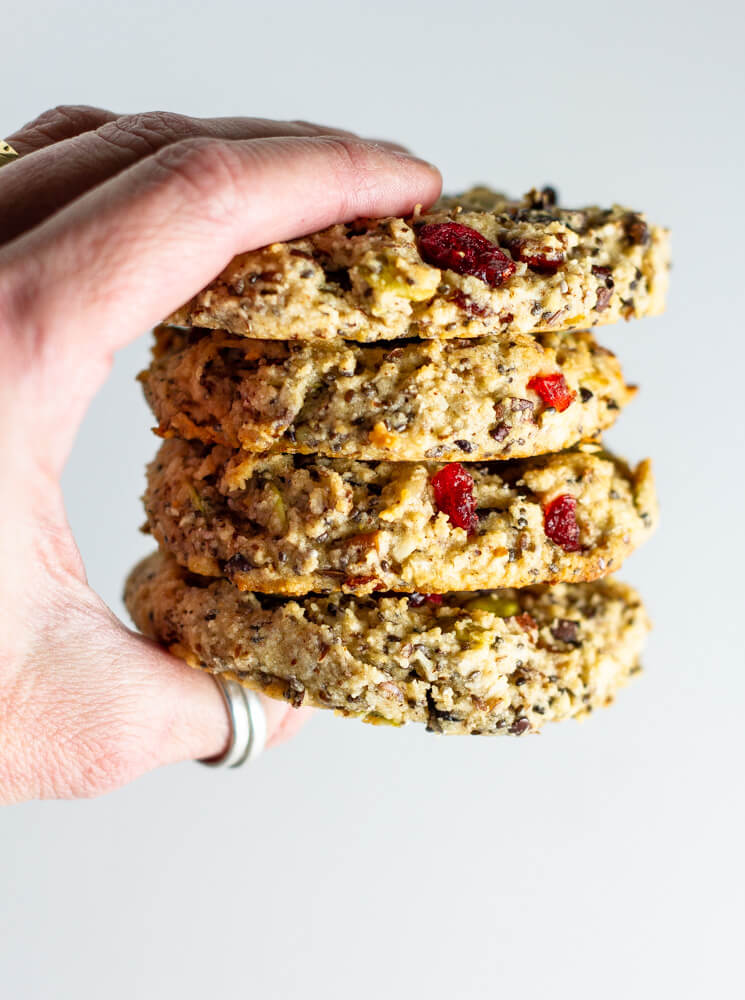 hand holding stack of breakfast cookies