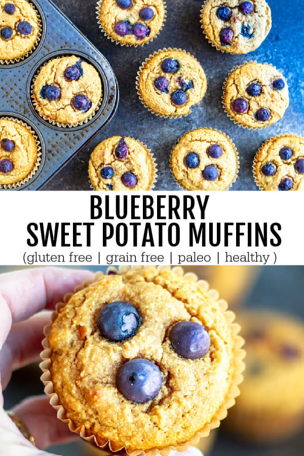Blueberry Sweet Potato Muffins in a muffin pan