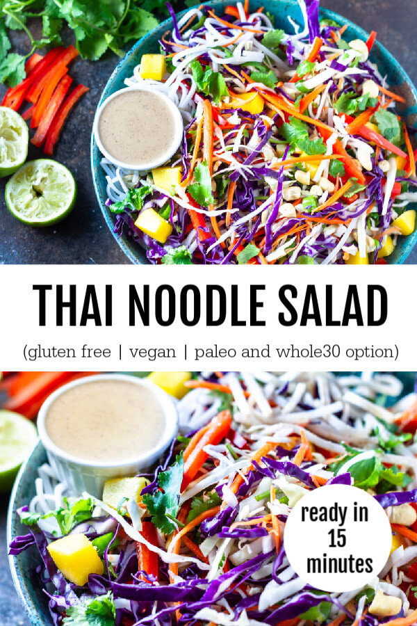 Thai Noodle Salad (gluten free, vegan, paleo and whole30 option) - www.savorylotus.com