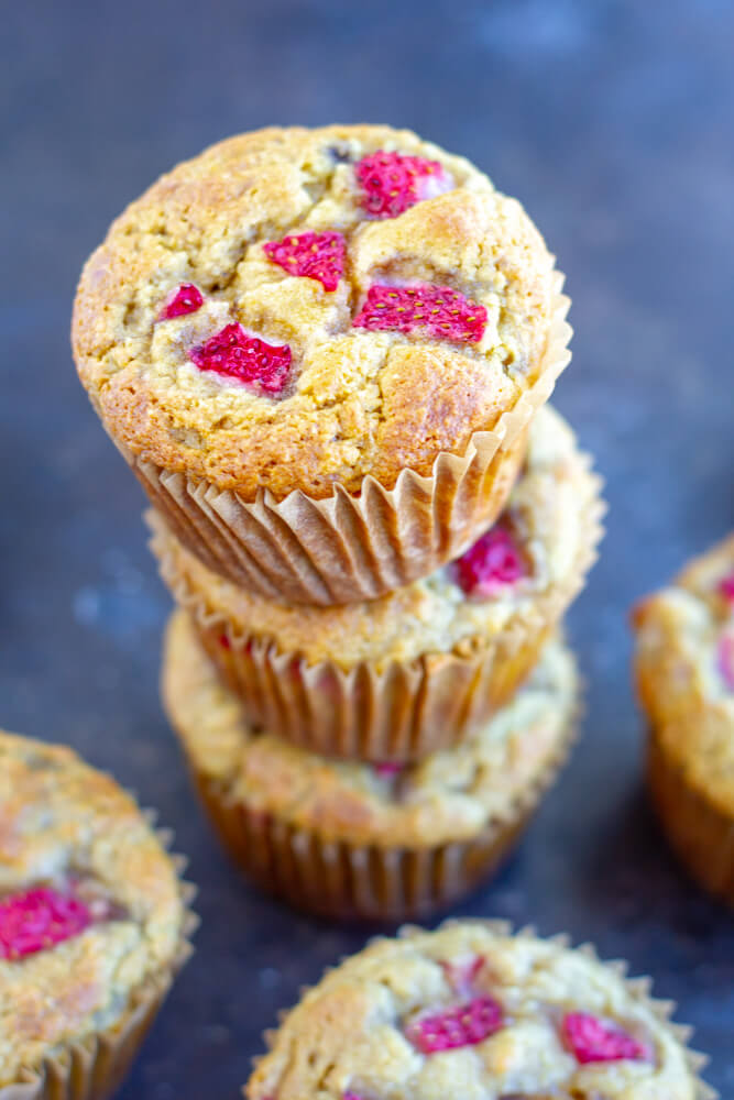 Strawberry Banana Muffins stacked on top of each other