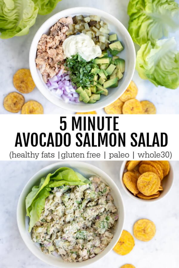 5 Minute Avocado Salmon Salad (gluten free, paleo, whole30) - www.savorylotus.com