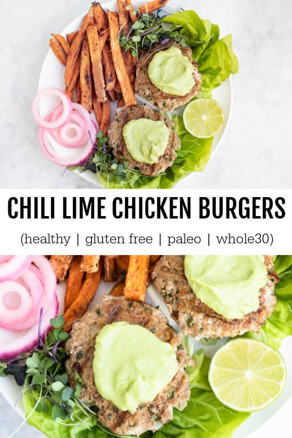 Chili Lime Chicken Burgers with sweet potato fries on white plate