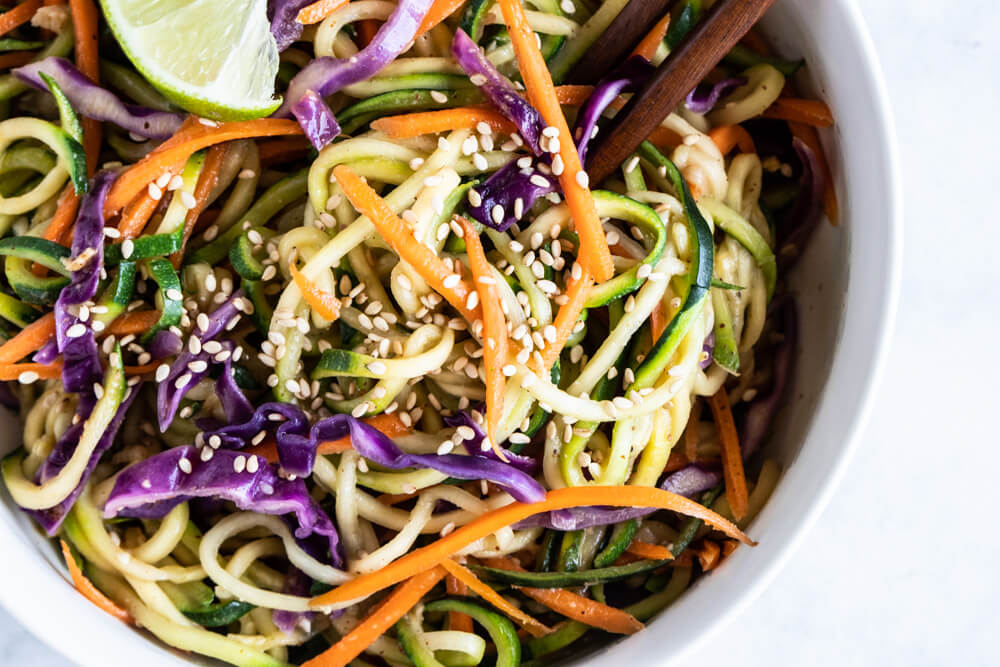 close up of Asian Zucchini Noodles