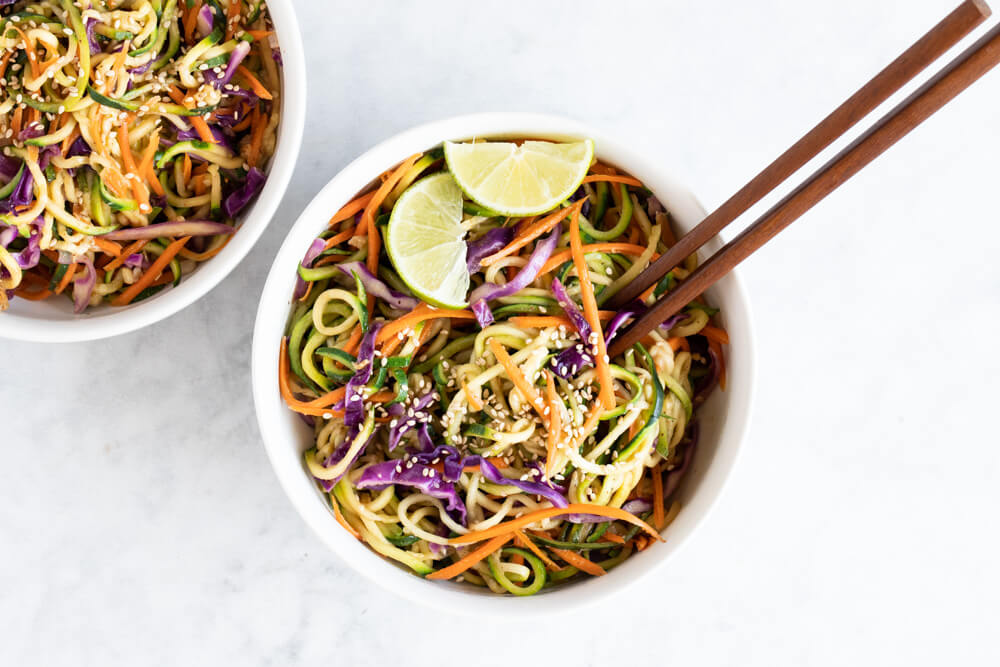 Asian Zucchini Noodles in a white bowl
