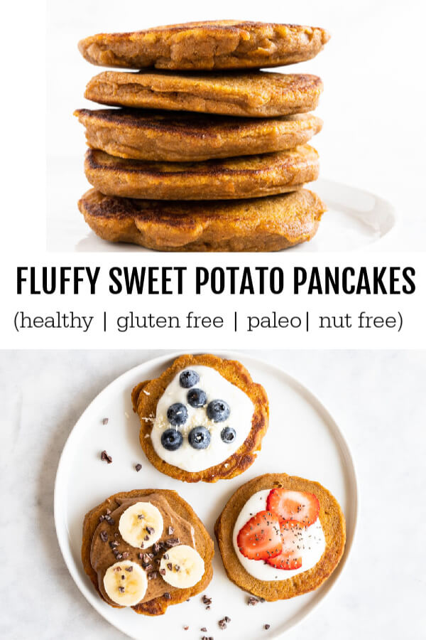 Fluffy Sweet Potato Pancakes (gluten free and paleo) - www.savorylotus.com