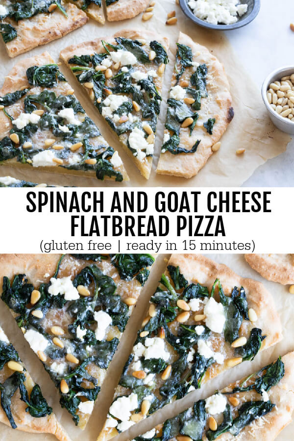 Spinach and Goat Cheese Flatbread Pizza slices with pine nuts on top