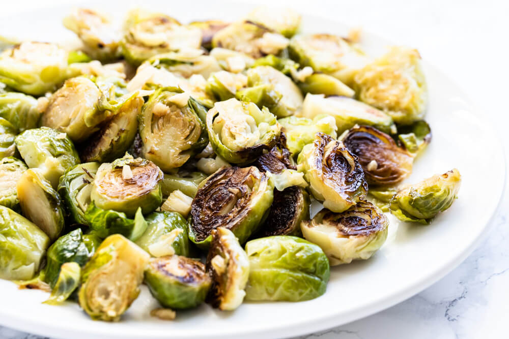 Instant Pot Brussels sprouts on white plate