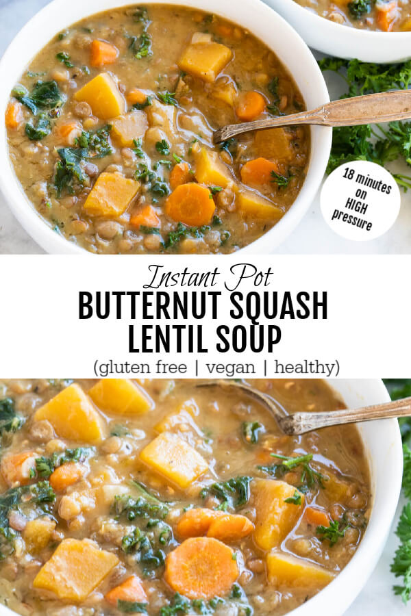 white bowl wit butternut squash lentil soup with a silver spoon