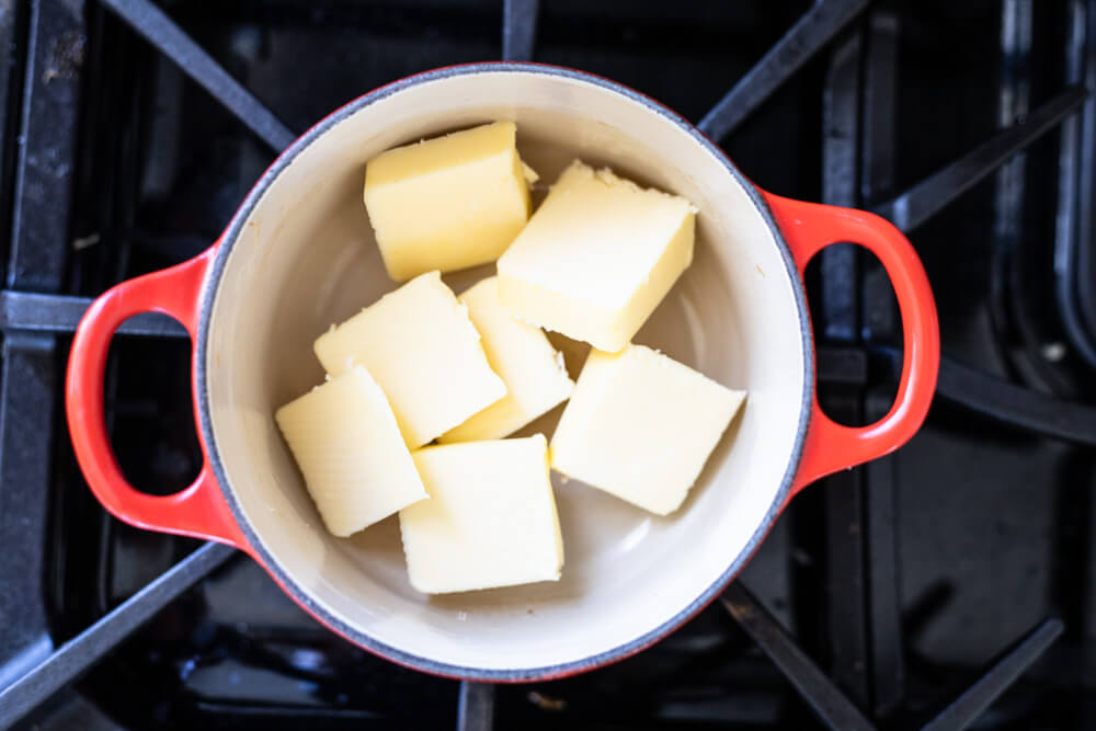 butter in red pot