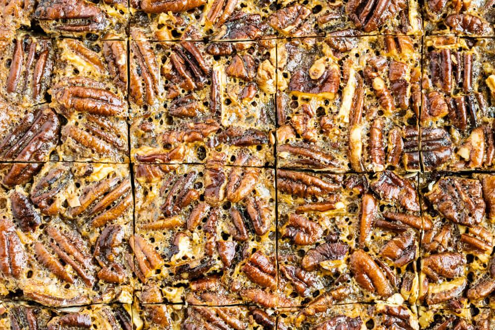 close up of pecan pie bars sliced