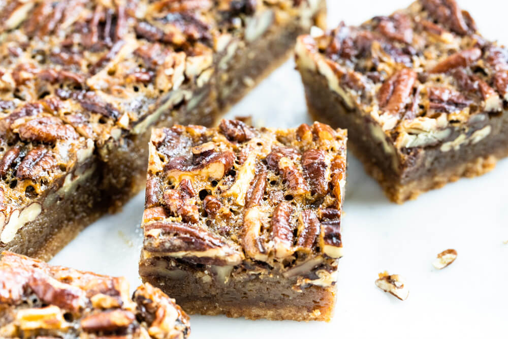 side view of a pecan pie bar