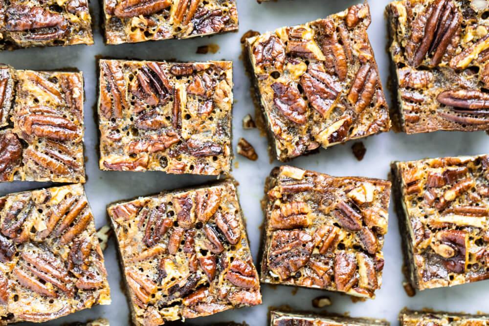 pecan pie bars cut into squares