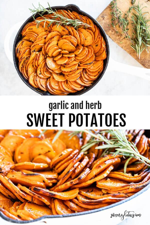 white skillet with sweet potato slices