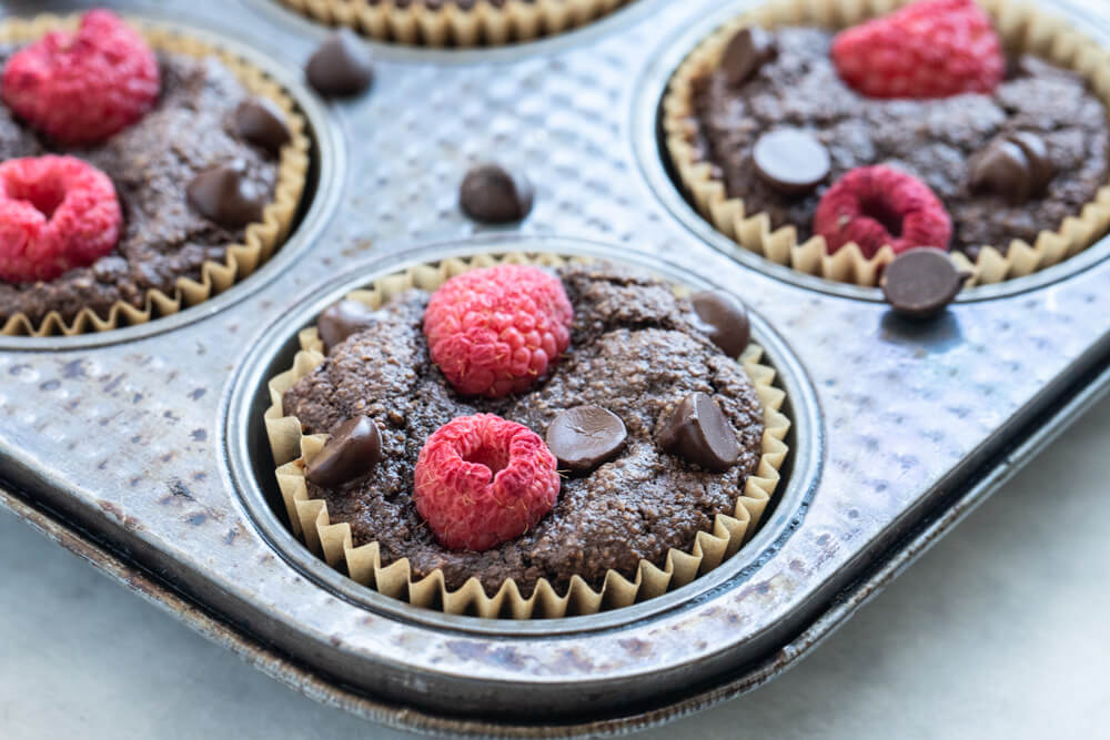 baking tray with a vegan chocolate muffin