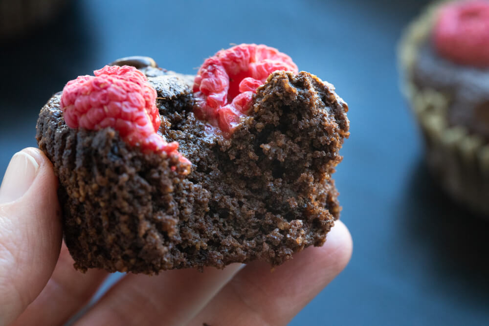 close up of hand holding a vegan chocolate muffin