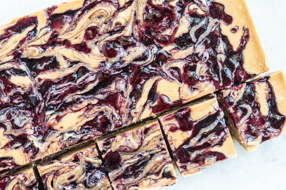 vegan peanut butter and jelly fudge cut into small squares